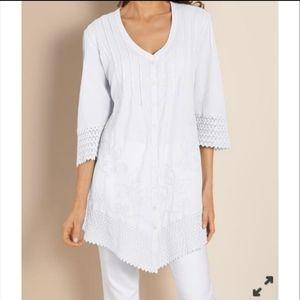 Soft Surrounding Grenada Gauze Shirt White